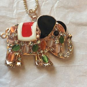 Stone & jeweled Betsey Johnson elephant necklace